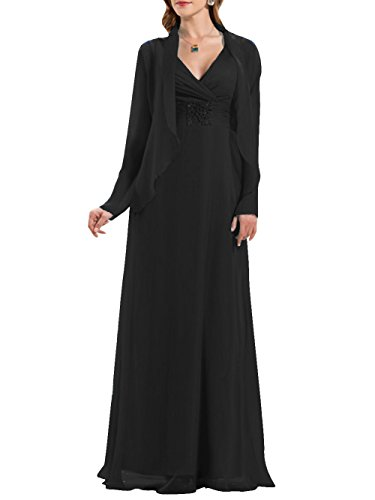 ModeC Long V-Neck Chiffon Beaded Mother of The Bride Formal Dress with Jacket Black ()