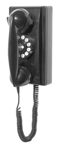 Crosley CR55-BK Wall Phone with Push Button Technology, Black