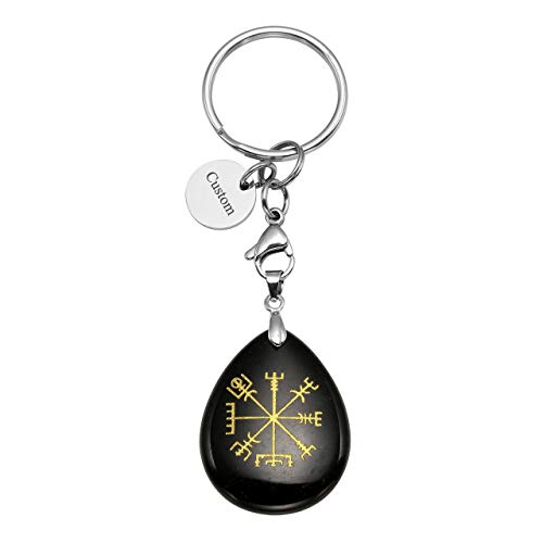 JOVIVI Custom Keychain - Personalized Vegvisir Viking Rune Symbol Compass Healing Crystal Teardrop Gemstone Chakra Pendant Engraved Dog Tag Keychain Keyring