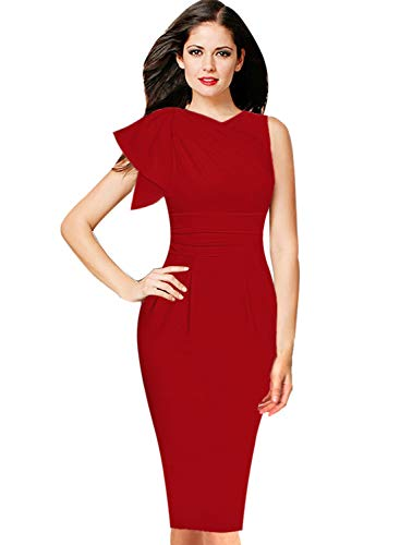 VFSHOW Womens Celebrity Elegant Ruffle Ruched Cocktail Party Bodycon Dress 1389 RED S ()