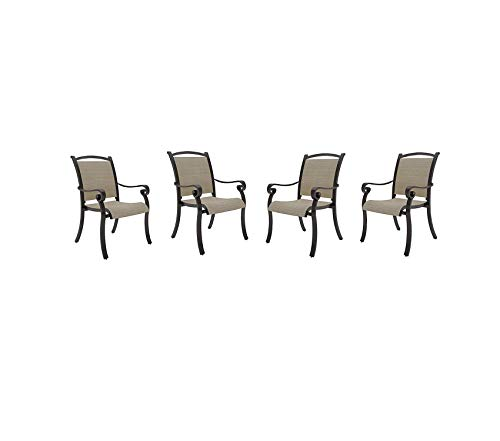 Signаturе Dеsign By Аshlеy Patio Outdoor Garden Premium Bass Lake Outdoor Sling Chair - Set of 4 - Rust Proof Aluminum - Beige & Brown