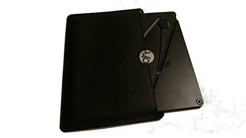 Credit Card Folding Knife Stainless Steel Metal Handle, Multi Function, Card Shape, Survival, Hunting Pocket Wallet Knife / Cutter Black, PU Bag
