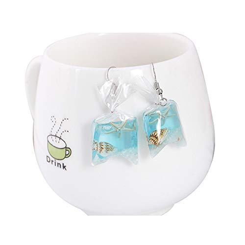 palettei Gold Fish Crystal Pocket Drop Earrings - Goldfish Water Bag Shape Dangle Hook Earrings Female (Starfish) (Mini Earrings Starfish)