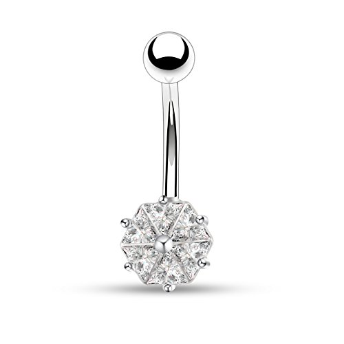 OUFER 14G 316L Surgical Steel Clear CZ Flower Petal Navel Ring Belly Button Rings