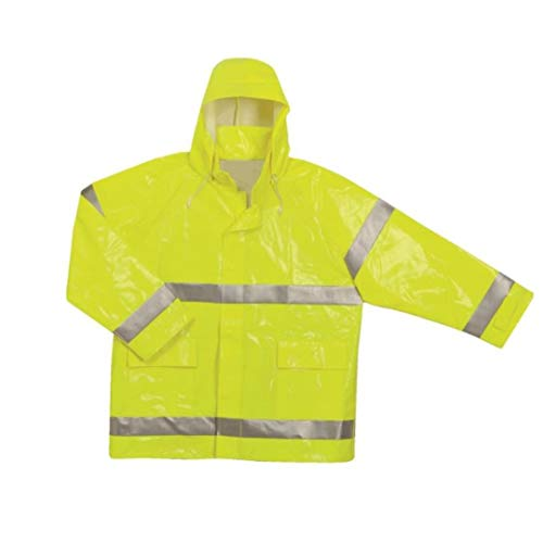 (Brite Safety Style 5212 FR Safety Raingear - Hi Vis Jacket, Safety Jackets For Men Waterproof & Fire Resistant With High Visibility Hoodie, ANSI 107 Class 3 Compliant (3XL, Hi Vis Yellow) )