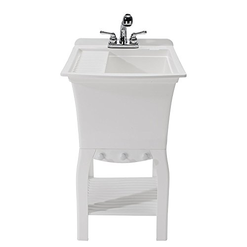 CASHEL 1990-32-01 The Fitz Workstation - Fully Loaded Sink Kit, White (Compact Bowl Single)