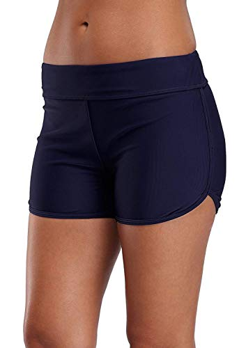 Attraco womens tankini bottoms tummy control surf shorts for women , US 6/S, Navy