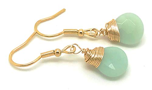 Aquamarine Earrings, 18k Gold Filled Aquamarine Earrings Yellow Gold Wire Wrapped March Birthstone