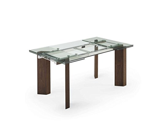 Creative Furniture Royce Extendable Dining Table, Transparent/Walnut (Glass Extendable Dining Top Table Room)