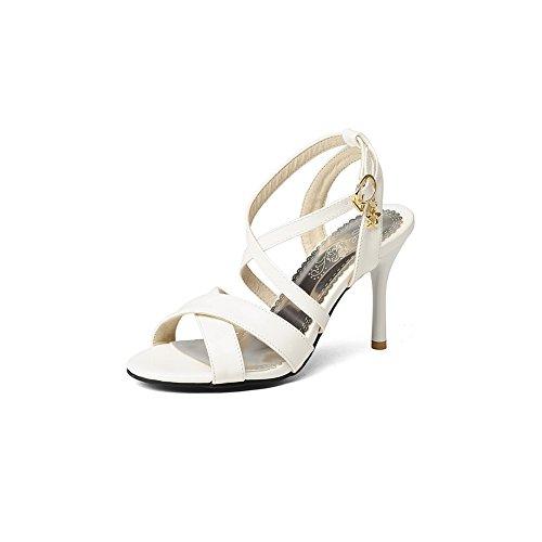 BalaMasa Ladies Spikes Stilettos Metal Buckles Peep-Toe White Urethane Heeled Sandals - 8 B(M) ()