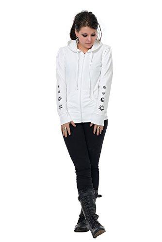 Fée Yin Femme Zippé Yang Blanc Sweat Veste shirt À 3elfen Capuche WpSTO8qA