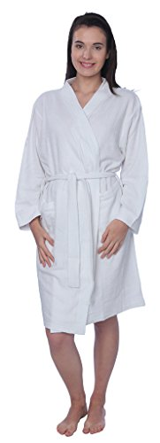 Beverly Rock Womens 100% Cotton Plus Size Robe Terry Knitted Cloth Bathrobe BRK White 1X