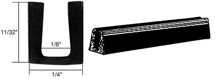 - C.R. LAURENCE AV4511 CRL Glass and Acrylic Setting Rubber Channel for 1/8 Material - 1/4 Base Width by C.R. Laurence
