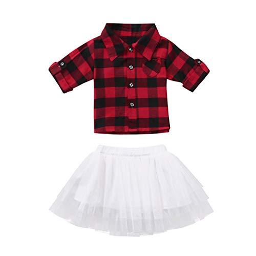 Cenhope Infant Baby Girls Skirt Set Plaid Folding Sleeve Shirt Top +Tutu Skirt Set Outfit (red, - Top Girls Flannel