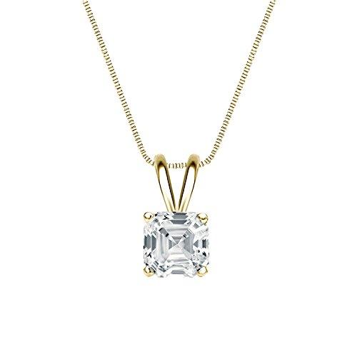 - 18k Yellow Gold 4-Prong Basket Asscher-Cut Diamond Solitaire Pendant (1/2 cttw, H-I, I1-I2)
