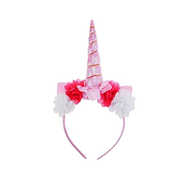 Unicorn Headband, Shiny Unicorn Horn Headdress Ears Flower Headband for Halloween Party Birthday Cosplay Costume 3