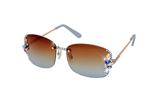 William Wang Women's Designer Sunglasses with Hand Set Swarovski Crystal Jewels (Gray, 2200GY) (Frontier Sunglasses)