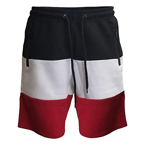 - Men's Casual Elastic Zip Pockets Classic Fit Gym Workout Color Block Shorts