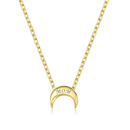 Personalized Moon Necklace, 18K Gold Plated Custom Couple/Lover Name Engravable Pendant Necklace for Women -