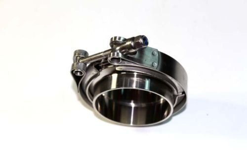 STAINLESS STEEL V-BAND CLAMP INCLUDING FLANGES COMPLETE ENGINE EXHAUST TURBO 3.5' INCH CMS