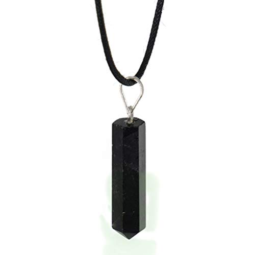 Obsidian Pendant Necklace - Natural Black Stone...