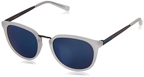 Frame Klein Calvin (Calvin Klein R366S Round Sunglasses, Matte Crystal Clear/Blue Flash, 51 mm)