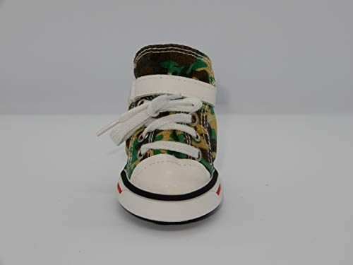 Canvas Hi-Tops Dog Shoes - Green Camo Size M - Set of Four (Camo Boots Dog Green)