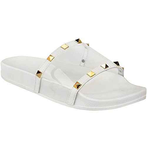 ns Flat Studded Perspex Clear Sliders Summers Sandals Flip Flops Size 7 ()