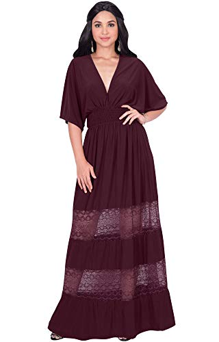 KOH KOH Plus Size Womens Long Sexy Summer Spring V-Neck Half Short Kimono Sleeve Sundress Lace Flowy Casual Empire Waist Boho Bohemian Tall Beach Elegant Maxi Dress Gown, Maroon Wine Red 2XL 18-20