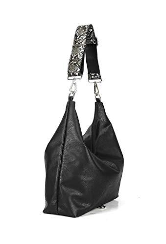 Angkorly Elegante De Moderno Mujer Bandolera Idea Negro Cabas Stile Tote Impresión Vendimia Borse Flexible Bag Regalo Street Serpiente Shopper Estudiante Moda 0war0q