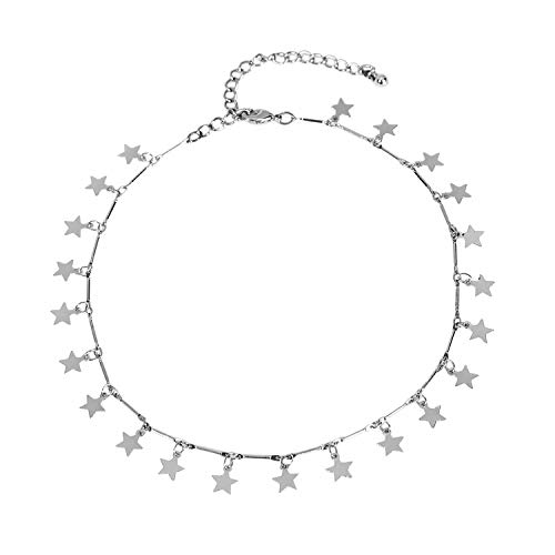 JANE STONE 14K Gold Dipped or Sterling Silver Lucky Star Choker Pendant Disc Chain Statement Necklace for Women ()