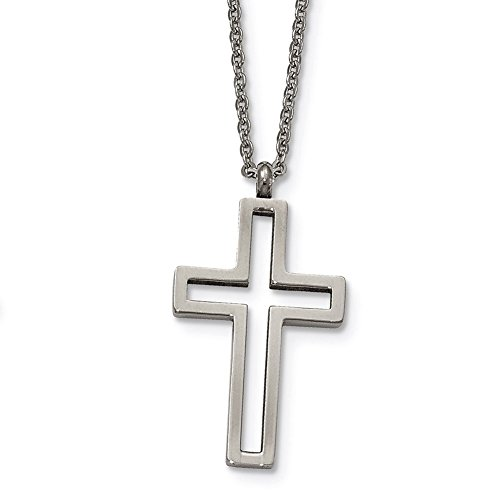 (Lex & Lu Chisel Stainless Steel Brushed & Polished Cut-Out Cross Necklace 17.5