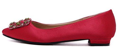 Slip Satin Womens Flats Low On Red Dressy Rhinestones IDIFU Shoes Top UqTRXX