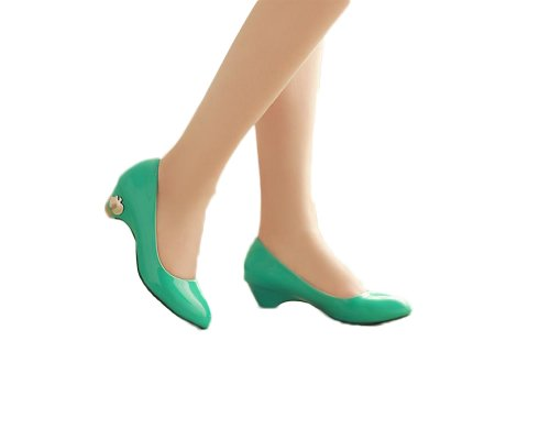 Charm Foot Fashion Womens Basic Classic Pumps Tacco Basso Multicolor Verde
