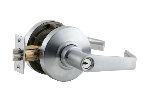 Brass Al Series Satin - Schlage AL80PD SAT 626 11-096 10-025 C123 Cylindrical Lock, Storeroom Function, C123 Keyway, Saturn Lever with Rose, Satin Chrome Finish