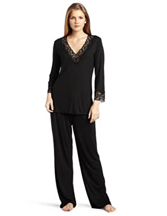 Natori Women's Lhasa Pajama Set, Black, X-Small