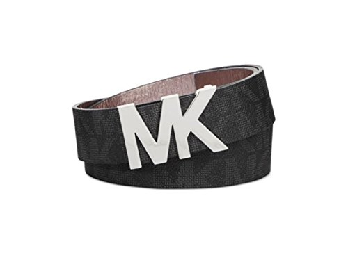 Michael Kors Womens Signature Belt Black with Silver MK Buckle (Medium)