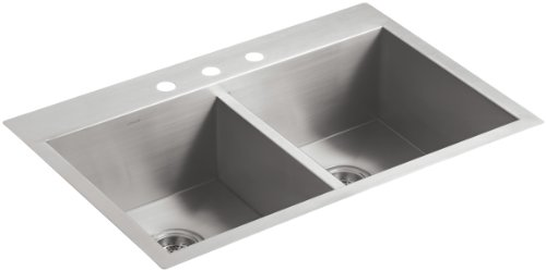 """KOHLER Vault Stainless Steel 33"""" Double-Bowl Kitchen Sink with Three Faucet Holes K-3820-3-NA Drop-In or Undermount Installation, 9 inch Bowl"""