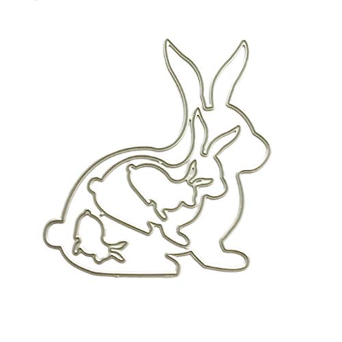 puhoon Cutting Dies, Lovely Rabbit Family Metal Stencil, DIY Scrapbooking Album Stamp Paper Card, Embossing Crafts Decor for Home