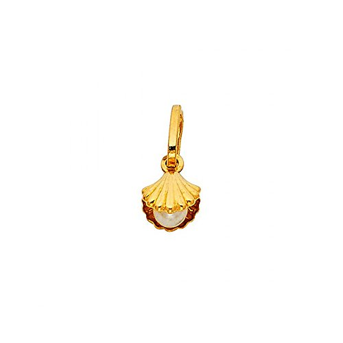 (American Set Co. 14k Yellow Gold Shell with Pearl Pendant Charm)