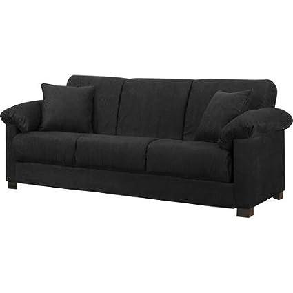 Amazon.com: Montero Microfiber Convert-A-Couch Sofa Bed, Black ...