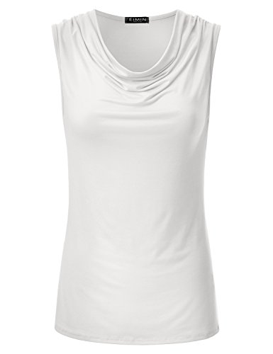 EIMIN Women's Cowl Neck Ruched Draped Sleeveless Stretchy Blouse Tank Top Ivory L