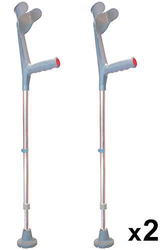 KMINA - Muletas adulto regulables aluminio, Muletas ortopédicas, Muletas ergonomicas, Muleta COMFORT Pack de 2 unidades color gris