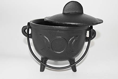 Nature's Enlightenment Large Cast Iron Triple Moon Cauldron for Incense, Resin,Cones