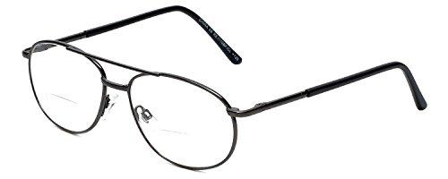 Calabria 1110CB Metal Aviator Bi-Focal Reading Glasses in Gun - Glasses Bifocal Aviator Reading