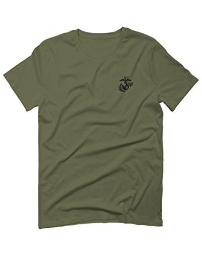 Black Seal Marine Corp Logo USMC United States of America American for Men T Shirt (Olive Green, 2X-Large)