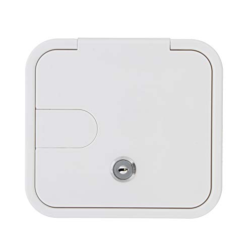 (Dumble Low Profile Electric Cable Hatch RV Electric Cord - White RV Camper Electric Cord Cover, 6in x 6.5in Square)