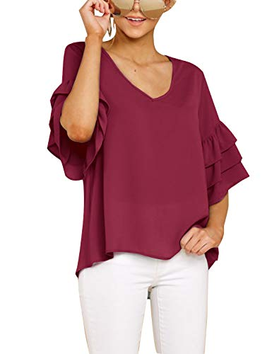 Blooming Jelly Womens Chiffon Blouse Bell Sleeve V Neck Shirts Ruffled Plain Casual Tops (x-Large, red) ()