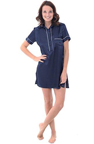 Satin Sleepshirt (Alexander Del Rossa Womens Satin Nightgown, Boyfriend Style Short Sleeve Sleep Shirt, Large Midnight Blue (A0789MBLLG))