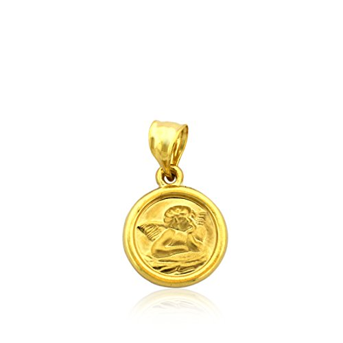 - 10k Gold Saint Angel Pendant Medal, for Kids and Adults